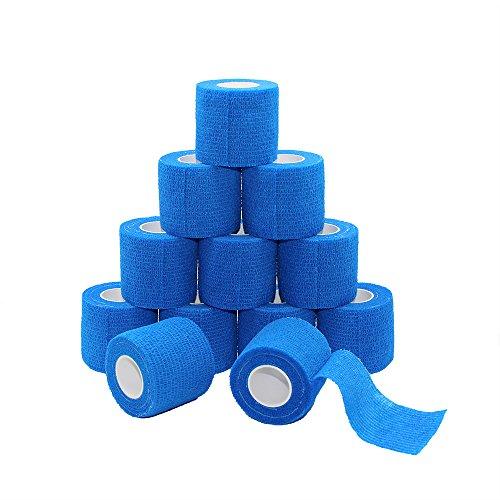 Fuluning, 12 Stück, 5,1 cm X 5 Meter Tapeverband, selbsthaftend Tape, Sportbandage stark Sport Tape für Handgelenk, Knöchel Verstauchungen und Schwellungen, Selbsthaftende Bandage Rollen, blau Farbe