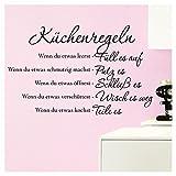Grandora Wandtattoo Küchenregeln I schwarz (BxH) 94 x 58 cm I Küche Spruch Zitat Aufkleber selbstklebend ablösbar Wandaufkleber Wandsticker Sticker W957