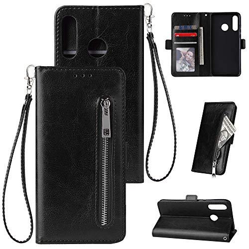 FNBK Kompatibel mit Hülle Huawei P30 Lite Handyhülle Leder Handytasche Reißverschluss Brieftasche Flip Case Slim Luxus Schutzhülle Handschlaufe Kredit Karten Magnetische Ständer,Schwarz (Brieftaschen Brieftasche Akkordeon)