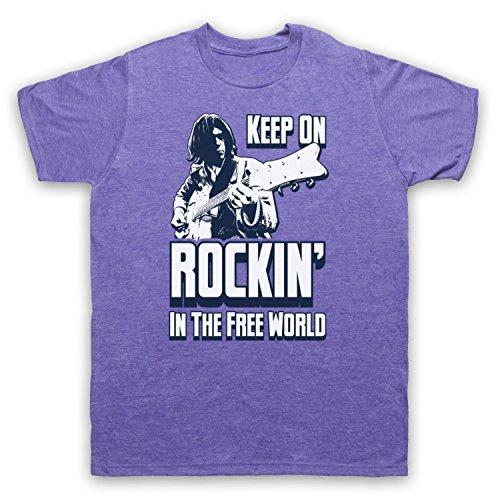 Inspire par Neil Young Rockin In The Free World Officieux T-Shirt des Hommes, Violet Classique, 2XL
