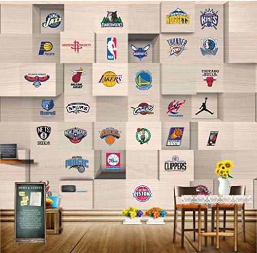 LYBH Tapete Kinderzimmer Pvc Selbstklebend 3D Wandbild Stereo Holz Diamant Sport Logo Basketball (B) 350X (H) 256Cm Mädchen Junge Raumwandbild 3D Film Foto Held Poster Wohnzimmer Tv Flur Wandkunst -