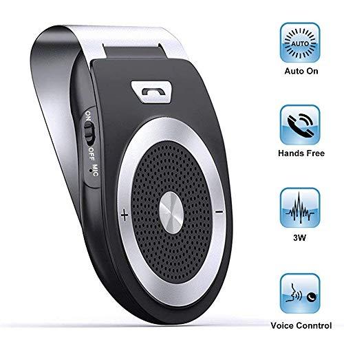 Aigital Kit Vivavoce Bluetooth 4.1 da Auto, Vivavoce Bluetooth per Aletta Parasole Handsfree Car Speaker con Siri, Assistente vocale Google Auto Accensione Lettore Musicale GPS dal Telefono iPho