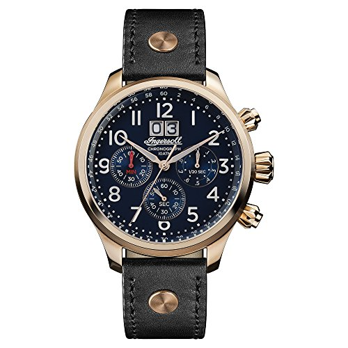 Ingersoll Men's The Delta Quartz Watch with Blau Dial andSchwarz Leather Strap I02401