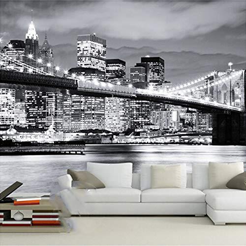 Kundenspezifische Wandbild-Nachtansicht Manhattan-Brücke New York europäische und amerikanische Städte-Schwarzweiss-Wohnzimmer-Hinterwand-Tapete Cchpfcc-400X280CM
