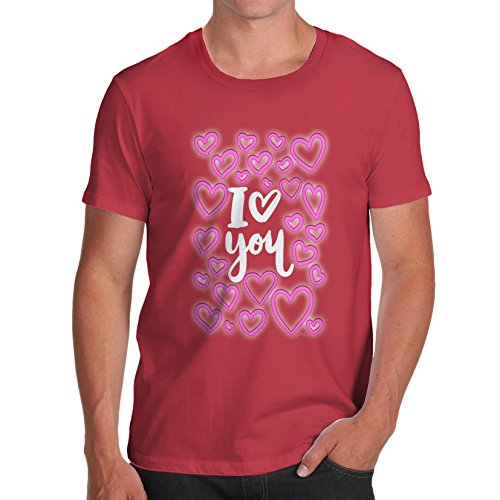 TWISTED ENVY Herren T-Shirt I Love You Neon Hearts Print Rot