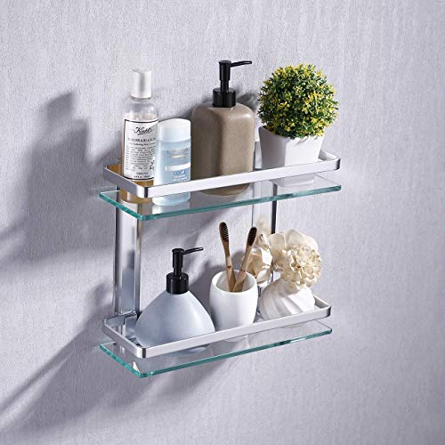 KES Estanteria Bano Aluminio Estante Baño Pared Rectangular Vidrio...