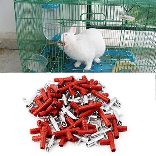 creatspaceE Automatischer Kaninchenbrustwarzen-Wassertrinker, Wasserspender für Geflügel, Hase, Nagetiere, Maus, Bauernhof, Tierbedarf, Rot und Silber, 30 Stück -