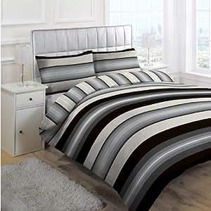 Linens Limited Retro Stripe Duvet Cover Set, Black, Double