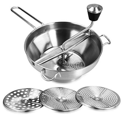 Navaris Pasapurés de Acero Inoxidable con Tres Discos incluidos - Colador Profesional de Cocina de Ø19CM - para puré de Patatas o potas para bebés