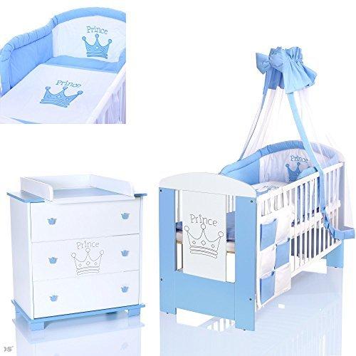 PRINZ blau Babyzimmer Möbel Komplettset für Jungs mit Kinderbett 120x60 Wickelkommode 9 teiligen Bettwäsche Set weiss