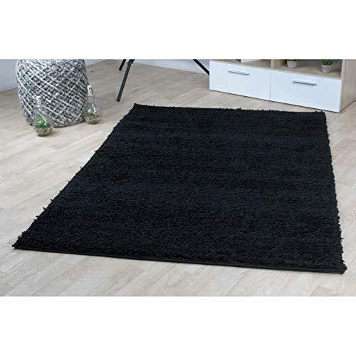 Hochflor Teppich | Shaggy Teppich fürs Wohnzimmer Modern & Flauschig | Läufer für Schlafzimmer, Esszimmer, Flur und Kinderzimmer | Langflor Carpet schwarz 080x150 cm