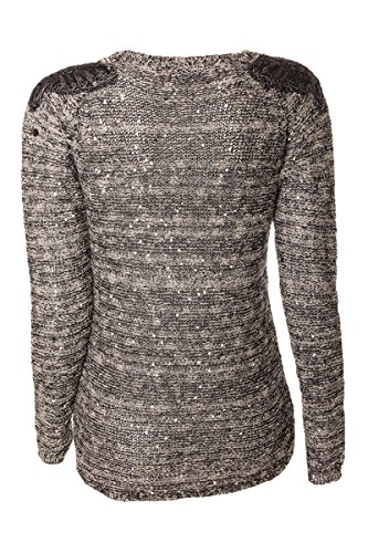 Pullover Melange Optik & Langarm mit Pailletten Schmetterling Applikation Beige