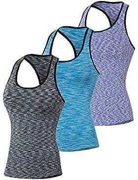 Qutool–Camiseta de tirantes para mujer, para hacer deporte, correr o yoga., mujer, 3 Pack Black,Blue,Purple,...