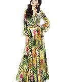 : Hansee Women Chiffon Lantern Sleeve Dress V Neck Long Sleeve Floral Maxi Party Dress (Green, XL)