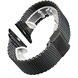 YISUYA Black Stainless Steel Apple Watch Mesh Band Wristband Bracelet Strap For Apple Watchband 42mm
