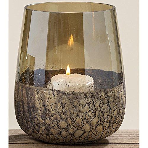 Windlicht aus Glas Krakelee gold - braun 18cm