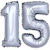 DekoRex® Folienballon Zahlenballon Luftballon Geburtstag Deko 40cm Silber Zahl: 15