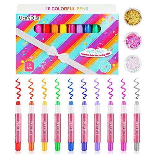 et - Ucradle 10 Farben Hair Chalk + 3 Glitzer Haarkreide Set für Kinder 6+, Waschbares & Temporäres Haar Farbe Set/Gesichtsfarbe-Set Perfektes Geschenk zum Geburtstag, Karneval ()