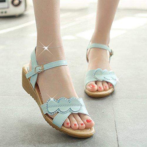 XY&GKVon Frauen für Frauen im Sommer Sandalen modische Diamond einfache Verschluss rutschfeste Damen Sandalen 38 blue