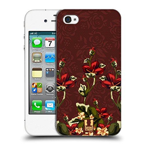 Head Case Designs Floreale Rosso Art Deco Floreale Cover Retro Rigida per Apple iPhone 7 Plus / 8 Plus Marsala E Rosso Floreale