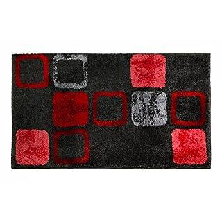 SCHÖNER WOHNEN-Kollektion, Mauritius, Badteppich, Badematte, Badvorleger, Design Box - rot, Oeko-Tex 100 zertifiziert, 60 x 60 cm