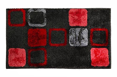 4 Set Teiliges Teppich (SCHÖNER WOHNEN-Kollektion, Mauritius, Badteppich, Badematte, Badvorleger, Design Box - rot, Oeko-Tex 100 zertifiziert, 60 x 60 cm)