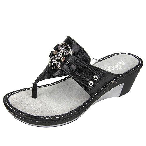 Alegria Lola Damen Leder Keilabsätze Sandale Black