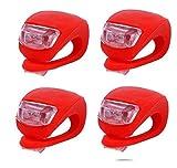 Rain 2X LED Silikon Fahrrad Licht Set Fahrradlampe Frontlicht in Rot