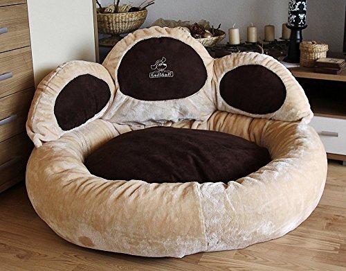 Knuffelwuff 12751 Pfoten Hundebett Luena – Größe S – M, 80 cm, beige - 3