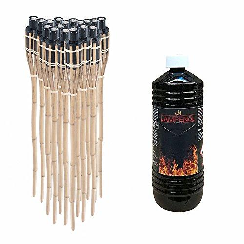 Ectxo 18x Bambusfackel Gartenfackel Bambus Fackel Gartenfackeln 90cm mit 1 Liter geruchsloses Lampenöl hochgereinigt
