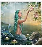 ABAKUHAUS Sirena Cortina de Baño, Sirena Y Magnolias, Tela Sintética Moderna Estampa Digital Lavable Set de 12 Ganchos, 175 x 220 cm, Pale Mar Verde Y Azul Petróleo