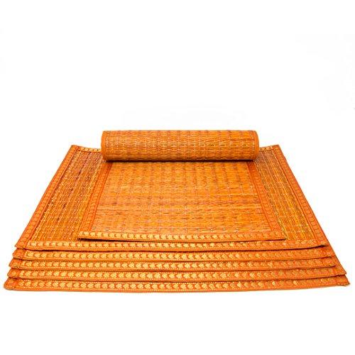 Sitz Orange Banana (HANDGEWEBT Woven Umweltfreundlich Tisch-Sets Set von 6River Grass Esstisch Matte mit Zari 30,5x 45,7cm orange für Küche Home decor-with einer Baumwolle Tasche)