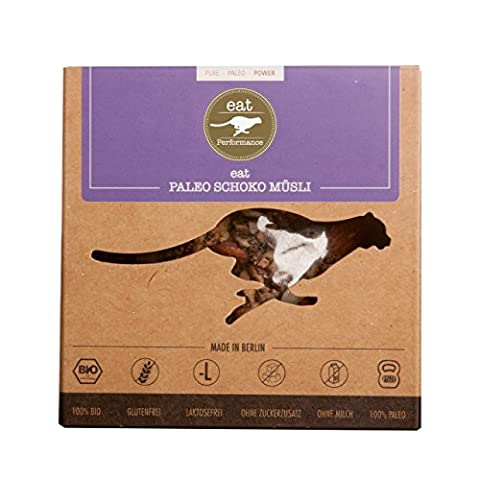 Chocolate Muesli (325g) by eat Performance (organic granola breakfast cereal, paleo, no added sugar, gluten free, lactose free, superfood, low