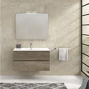 Hogar Decora Mueble de baño 70cm suspendido 2 cajones autocierre + Lavabo cerámico + Espejo + Aplique LED (Fondo 46CM)