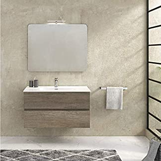 51TMcRKIv%2BL. SS324  - Hogar Decora Mueble de baño 70cm suspendido 2 cajones autocierre + Lavabo cerámico + Espejo + Aplique LED (Fondo 46CM)