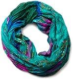 styleBREAKER Loop Schlauchschal mit maritimen Muschelmuster, Crash and Crinkle, Schal, Tuch, Damen 01018023, Farbe:Aquagrün-Pink