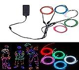 EL-Drähte,JINQIU 5 × 1M Fünf-Farben Neon EL Wire Draht Leuchtschnur Kabel Lichtschnur, Beleuchtung Lichtband Lichtleiste für Weihnachtsfeiern Disco Party Kinder Halloween Kostüm Kleidung Dekoratio
