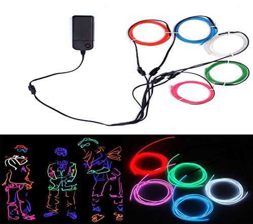 × 1M Fünf-Farben Neon EL Wire Draht Leuchtschnur Kabel Lichtschnur, Beleuchtung Lichtband Lichtleiste für Weihnachtsfeiern Disco Party Kinder Halloween Kostüm Kleidung Dekoratio (Kind Led Halloween Kostüm)