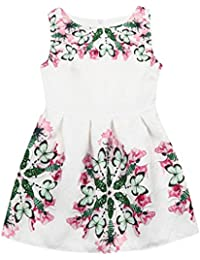 OHQ Toddler Kid Baby Girl Sleeveless Pattern Princess Dress Outfits Clothesvestidos niñas Adolescente