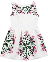 OHQ Toddler Kid Baby Girl Sleeveless Pattern Princess Dress Outfits Clothesvestidos niñas Adolescente