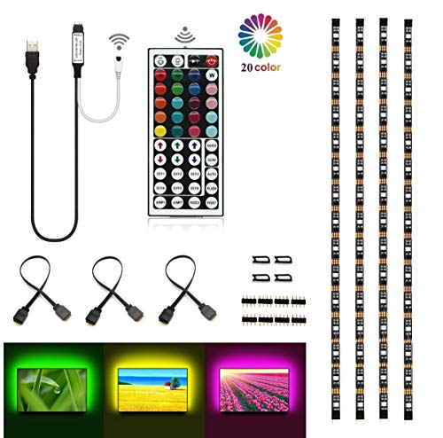 Topled LightBias Lighting per HDTV USB LED Kit striscia multicolore RGB LED neon sistema di illuminazione d'accento per TV LCD a schermo piatto, PC desktop(Nero)