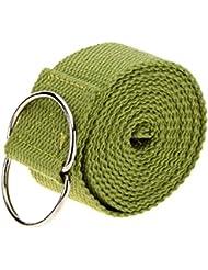 vyage (TM) 1pc 183* 3,8cm correa cinturón de Yoga Stretch Correa Cinturón Cintura armas pierna ejercicio yoga y pilates fitness gimnasio cuerda para hombre Mujer, verde
