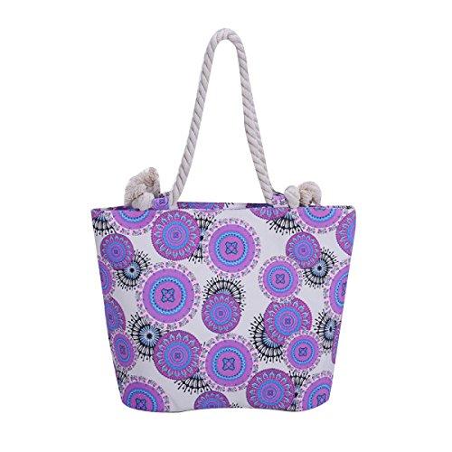 Frauen Neue Punkte Beiläufige Strand-Tasche Leinwand Handtasche Purple