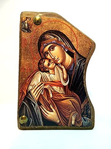 Handmade Wooden Greek Christian Orthodox Mount Athos Icon of Virgin
