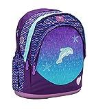 Belmil Kinderrucksack Schultasche Mädchen Grundschule Klasse 1. - 5. Klasse/Schule, Outdoor und Reisen/Leichte Kinder Rucksack / 18 L/Lila, Blau/Delfin, Delphin (Under The Sea)