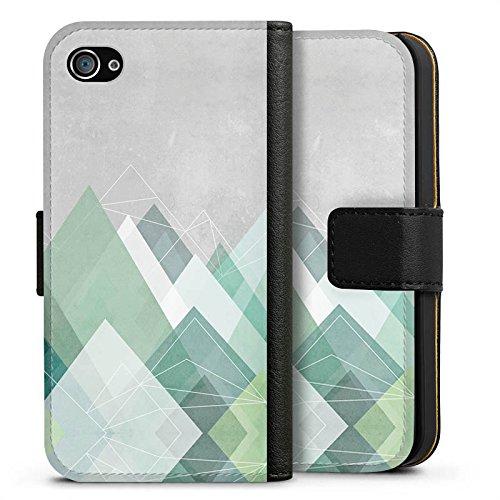 Apple iPhone SE Hülle Case Handyhülle Berge Abstrakt Grafik Sideflip Tasche schwarz