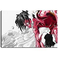 One Piece, Luffy foto sobre lienzo Tamaño: 120x80 cm. Impresión del arte de alta calidad como un mural. Más barato que una pintura al óleo! ADVERTENCIA! NO Poster