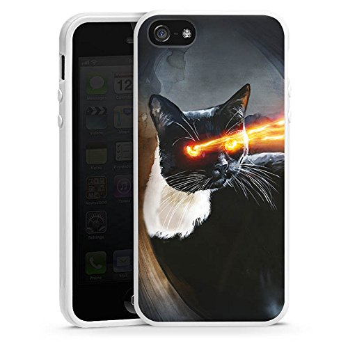 Apple iPhone 4 Housse Étui Silicone Coque Protection Chat Laser ¼il Housse en silicone blanc