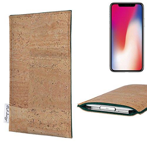flat.design Filztasche BEJA aus echtem Korkstoff für Apple iPhone X - Maßanfertigung der Filz Schutztasche aus 100% Wollfilz (grau) für Apple iPhone X grün