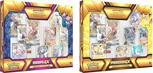 1 Coffret Pokémon Légendaire DX Soit Pikachu ex Soit Hoopa Ex avec 5 Cartes légendaires Full Art + 3 boosters en Allemand